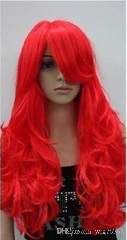 Perruque Livraison Gratuite Chaude Résistant À La Chaleur Fête CheveuxNouveau Rouge Clair Longue Bouclée Cosplay Perruque Complète