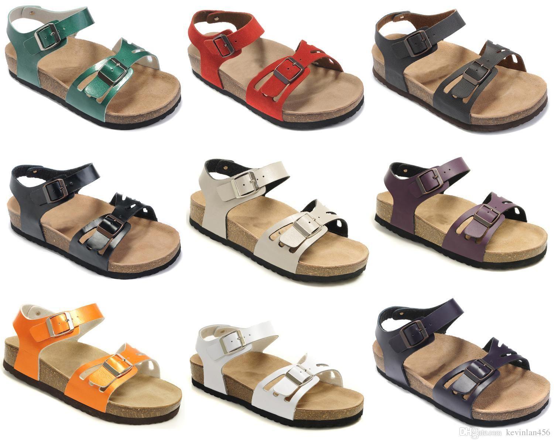 Zapatos Casual sandalias planas de las mujeres del estilo de la moda de Arizona Con caja de Orignal Men s Male Dos hebilla de playa del verano del cuero genuino de los deslizadores 35-46