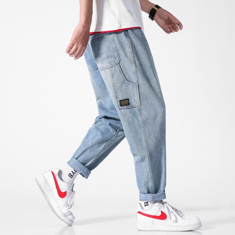 Yi dao Vintage Summer Japanese-style Large Size Trend Casual Washing Solid Color Jeans Men Loose-Fit Skinny Capri Pants