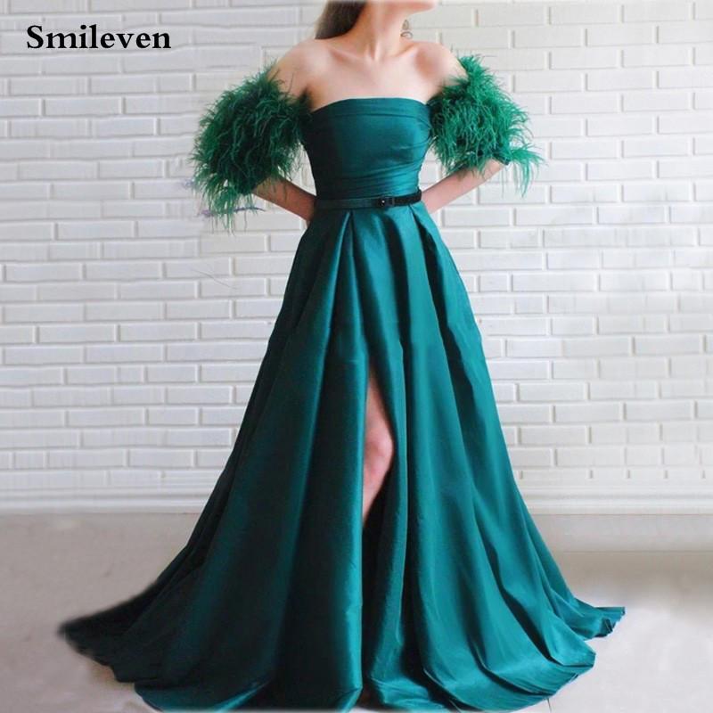 Smileven Мода перо Пром платья темно-зеленый со стороны высокой Разделить вечернее платье сшитого с длинным рукавом Формальной партии платье