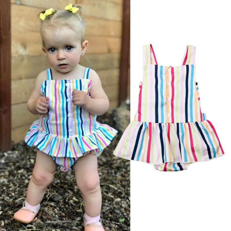 Nouveau-né 0-24M enfants Bagy fille Clotehs manches d'été arc-en-Striped Romper élégant mignon belle robe de princesse coton Tenues