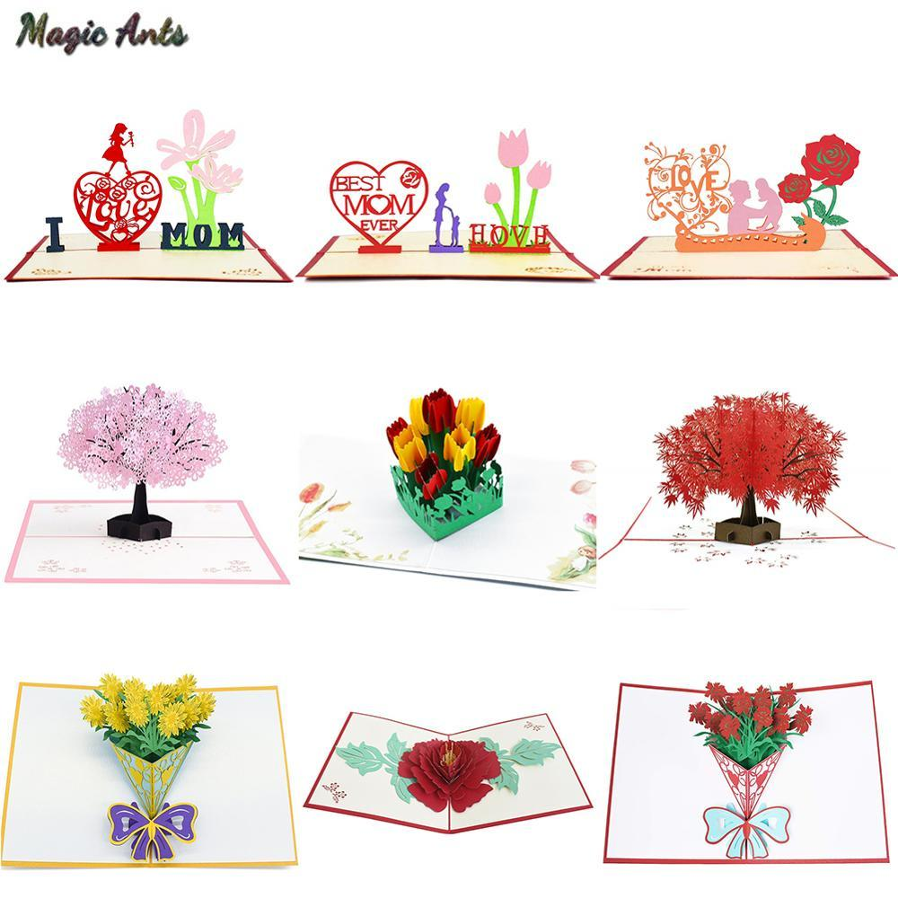 3D Pop Up Cards Mothers Day Gifts Card I Love Mom Carnation Flowers Bouquet Greeting Cards for Mother Birthday Card