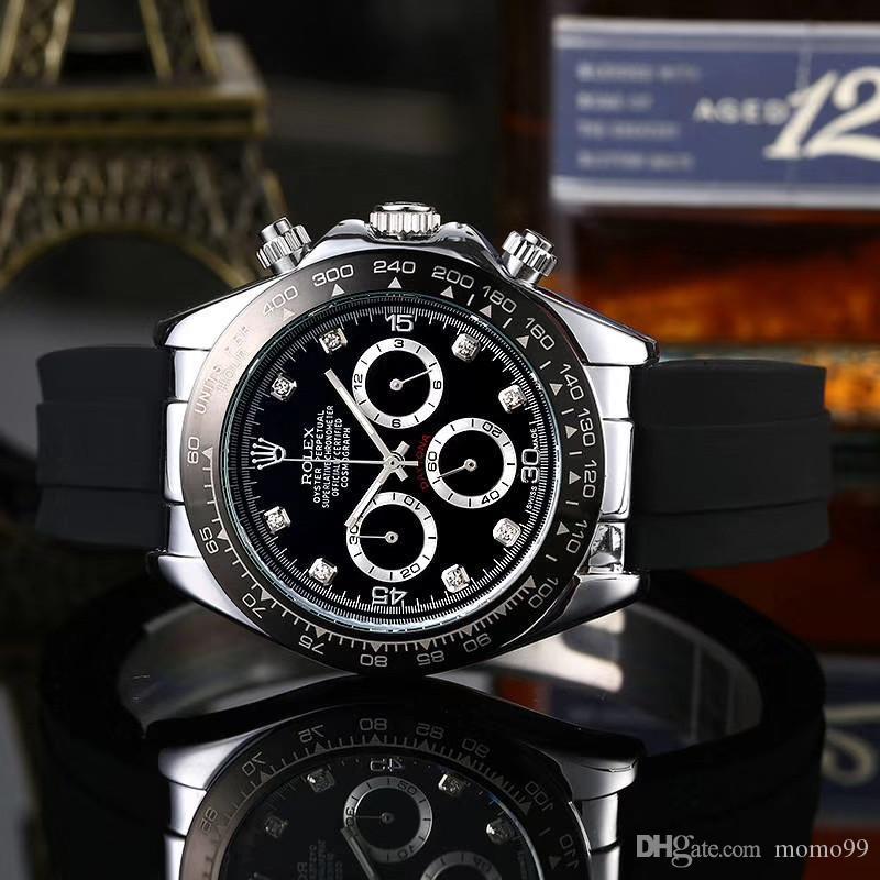 모든 작은 다이얼 작업 최고 브랜드 석영 스톱워치 40mm 망은 스위스 브랜드 명품 시계 패션 스포츠 손목 시계의 relojes 시계