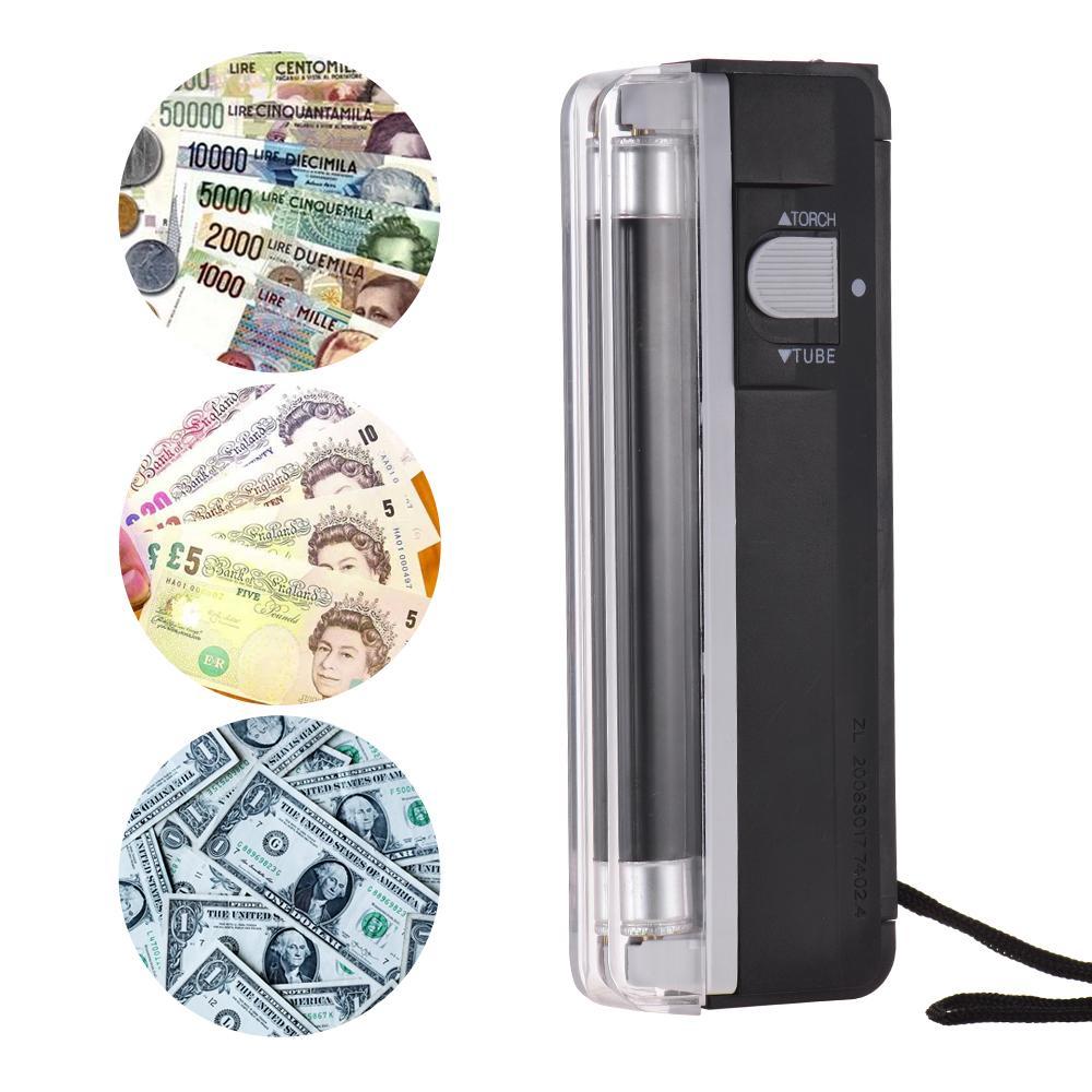 2-en-1 Portable Mini Détecteur d'argent Contrefaçon Cash Devise Billet Bill Checker Testeur avec Lampe UV Lampe de poche