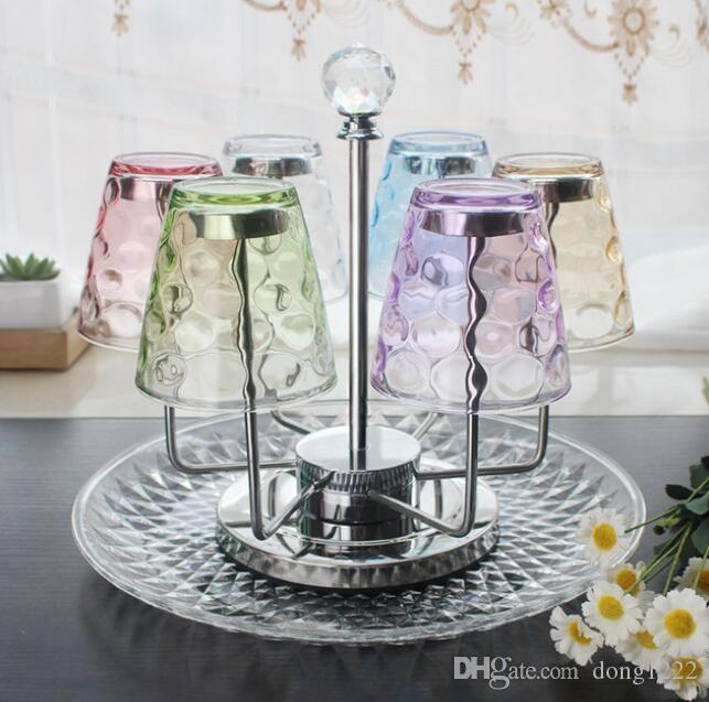 Taza de té Portavasos de vidrio Portavasos 6 Ganchos giratorios Exhibición Almacenamiento Artesanía de acero inoxidable Decoración del hogar