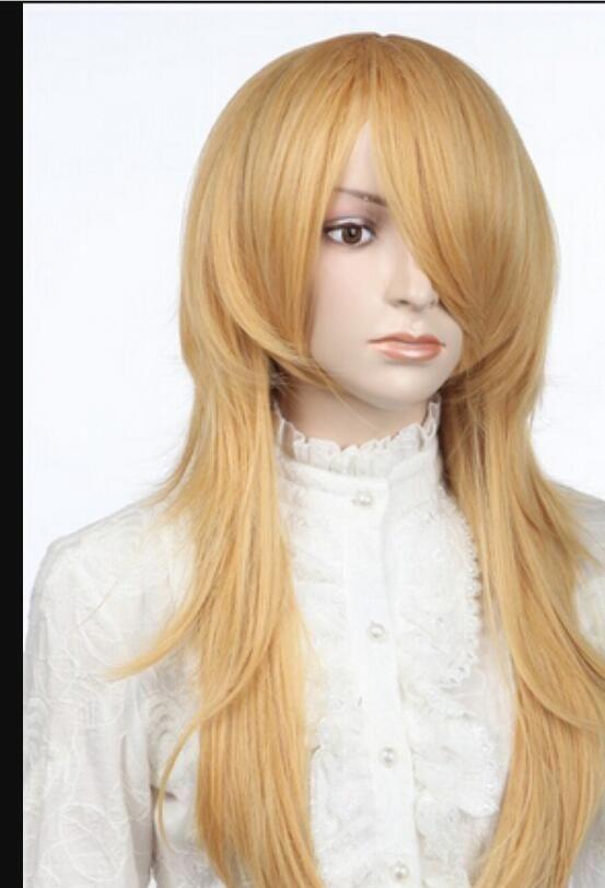 WIG free shipping AZ99 New Fashion Golden Long Straight Cosplay Women Halve Wig