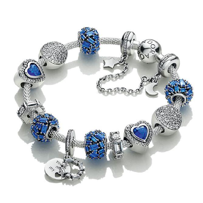 d8a1188db 925 Sterling Silver Complete Finished Charm Bead Bracelet Fits European  Pandora Jewelry Charm Bracelets--