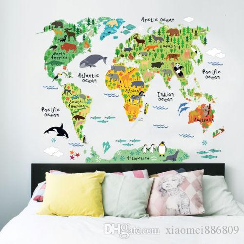 동물의 세계지도 재미있는 벽 스티커 어린이집 장식 이동식 비닐 데칼 선물