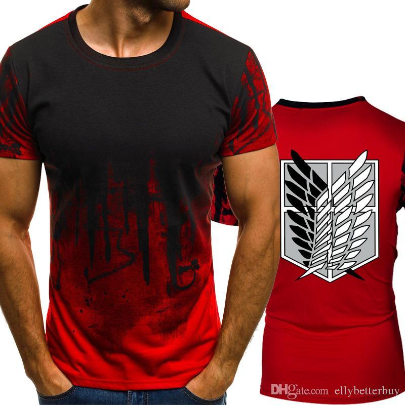 Attack On Titan Gradient color T Shirt Hombres Compresión rápida Hombre transpirable O-cuello Manga corta Camiseta Fitness Gimnasios Camiseta tops