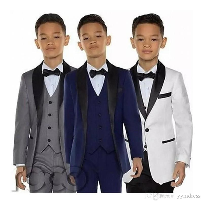 2019 New Boys Tuxedo One Button Shawl Lapel Kids Wedding Suit Costume Made Ring Bearer Suits (Jacket+Pants+Vest+Bow)