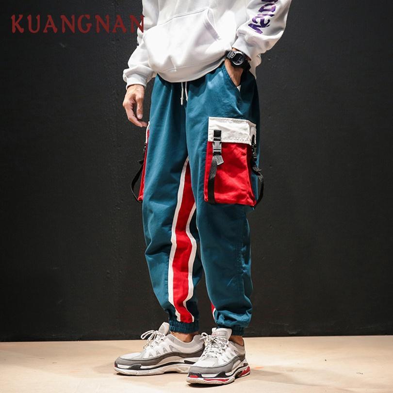 KUANGNAN Azul Pantalones Cargo Hombres Joggers Hip Hop Patchwork Pantalones Cargo Hombres Ropa 2018 Streetwear Japonés Casual XXXXL