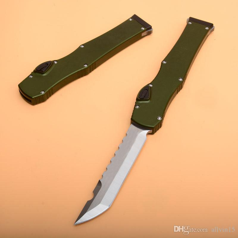 "Fast shipping Ha lo 6 Tactical Knife (4.4"" Satin) Single Action Hell Blade knife With Safety lock Survival EDC Gear knives"
