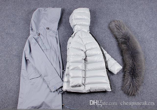 Parkas largas para mujer con capucha y cuello extraíble de piel de zorro de Fox. Calzado interior Suecia Noruega Holanda @cheapsneakers