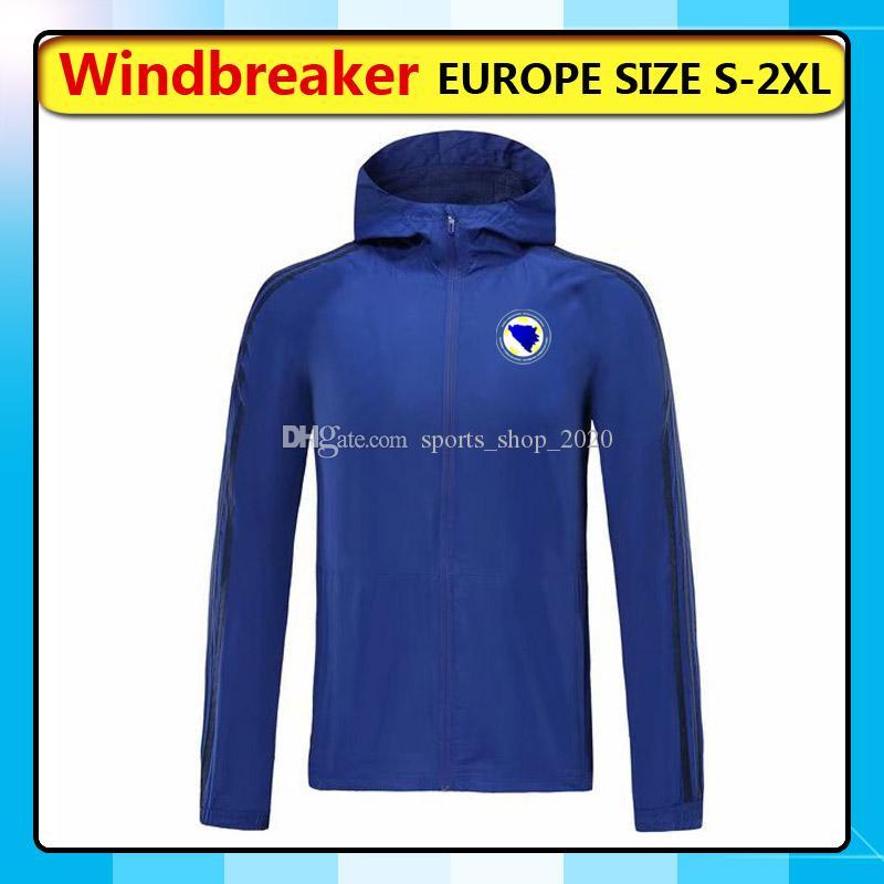 Bosnia-Erzegovina della nazionale rivestimenti di calcio con cappuccio Giacca a vento, Bosnia-Erzegovina cerniera intera cappotto Windbreaker Giacche corsa