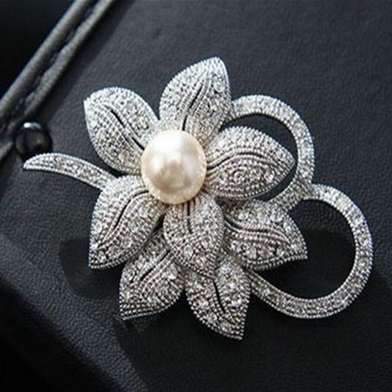 واضح حجر الراين كريستال الماس لؤلؤة القوس الزفاف باقة دبوس بروش خمر