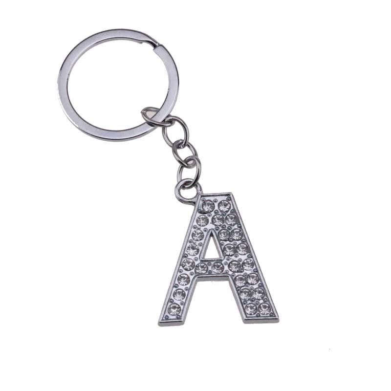 """120Pcs/Lot Alloy Alphabet Letter Full Rhinestone With Split Ring Keychain DIY Accessories 3.2"""" Free Shipping"""