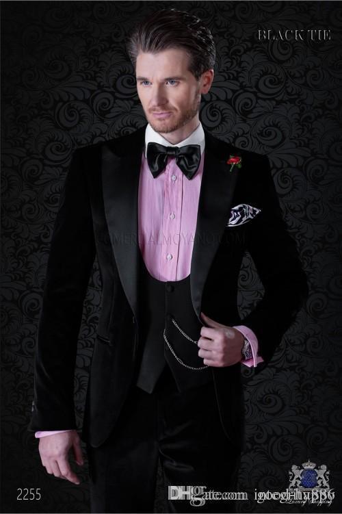 검은 벨벳 신랑 턱시도 피크 옷깃 Groomsmen의 웨딩 드레스 가을 겨울 스타일의 남자 정식 파티 댄스 파티 (자켓 + 바지 + 타이 + 조끼) 887