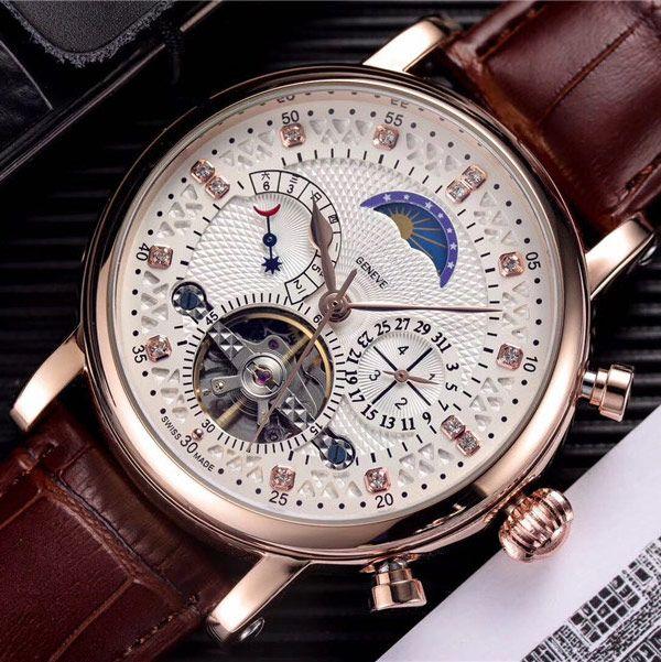 mens venda Hot moda relógios pulseira de couro genuíno automática mecânica Diamond dial DayDate movimento do relógio da fase da lua para os homens melhor presente