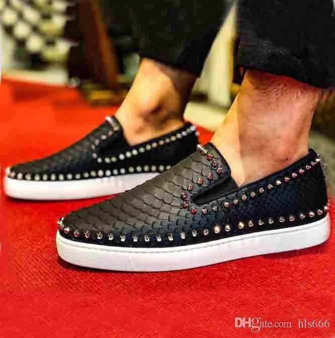 düşük kesim tembel ayakkabıları Siyah Kırmızı Patent Deri Balık ölçekli kesim Kırmızı alt Erkekler Sneaker Pik tekne en kaliteli Kayma hakiki deri el yapımı düz