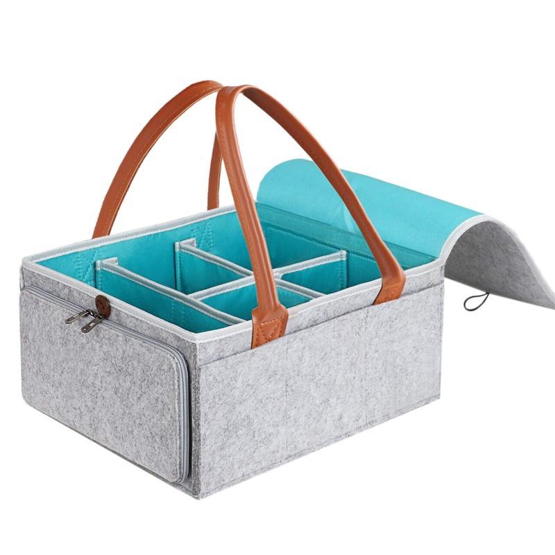 Grand Diaper Caddy Organisateur de nurseries Panier de rangement avec couvercle Fermeture à glissière et poignée en cuir pour bébés Douche lingettes cadeau bac de réception H