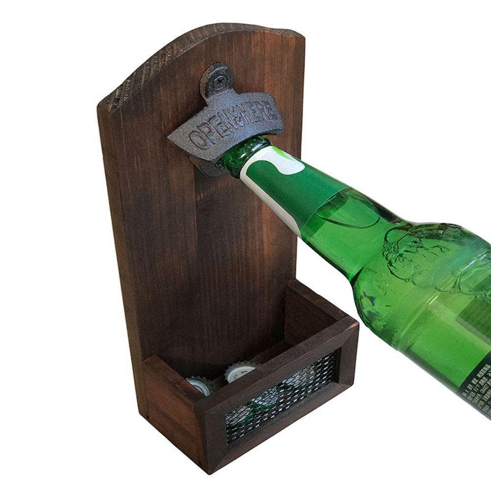 Creative Wall Mount Bottle Opener Retro Magnet Beer Bottle Opener with Bottle Cap Catcher Opener Tool Bar Drinking Accessories HK0214
