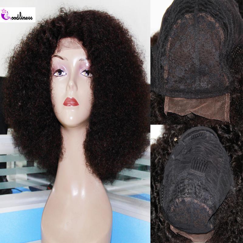 Кружевные парики Монгольский натуральный афро странный кудрявый парик человеческих волос 4x4 женщины 250 коротко