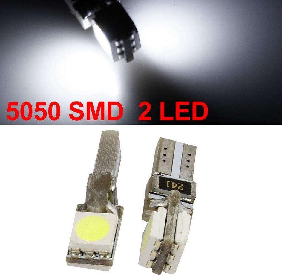T5 웨지 2 개 5050 SMD의 CANBUS 주도 자동차 전구 자동차 주도 자동차 램프 LED 대시 보드 등 1000 개