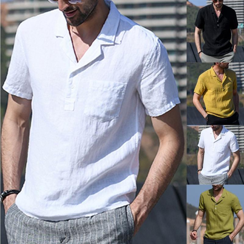 Мужская хлопок белье футболки Главная Vintage Pure Color Карманный Короткие рукава ретро футболки Топы Блуза