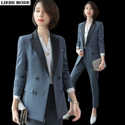 Ровный зеленый Серый Черный брючный костюм Равномерное куртка Blazer Set Бизнес Две пьесы костюм Женщины офис дамы 2020 осень зима