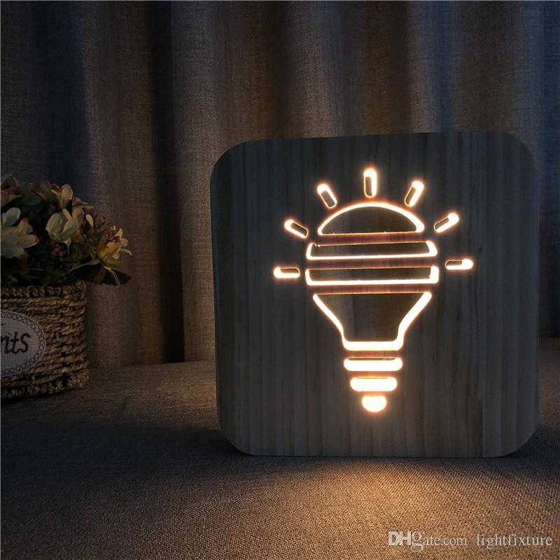 Lâmpada criativa Lâmpada de mesa de forma escavada Madeira LED Night Light Branco quente Escultura em madeira maciça 3D Night Lamp
