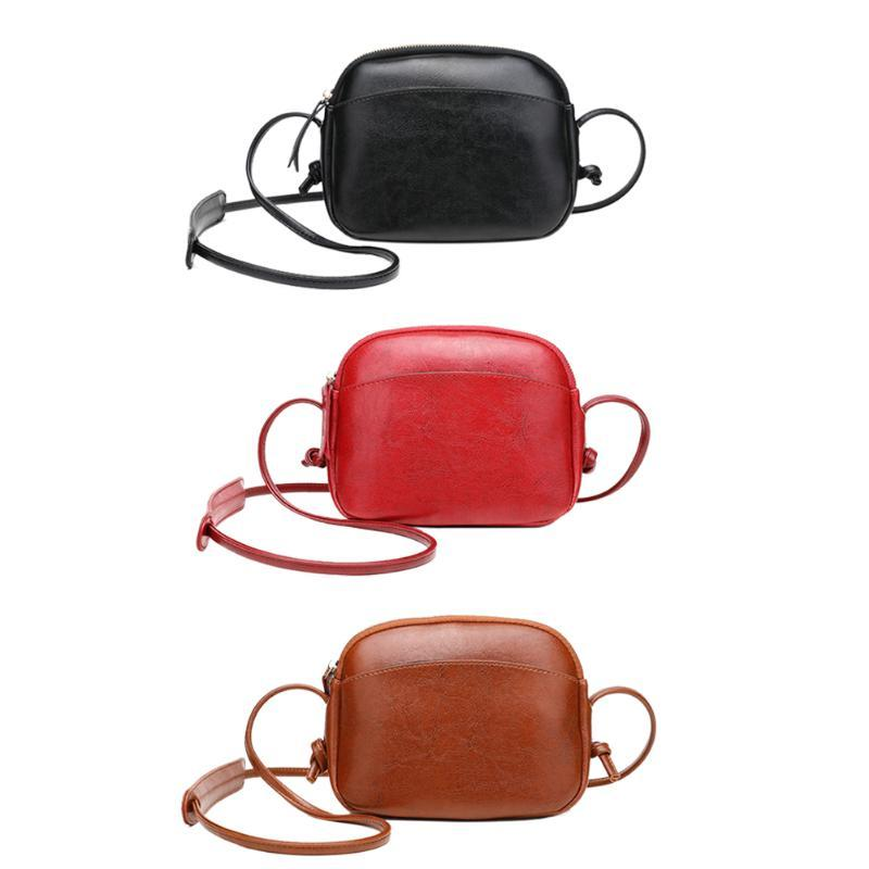 Seyahat Alışveriş Messenger çantaları Moda Katı Renk Omuz Crossbody Çanta Bayan PU Deri Fermuar Kabuk Şekli