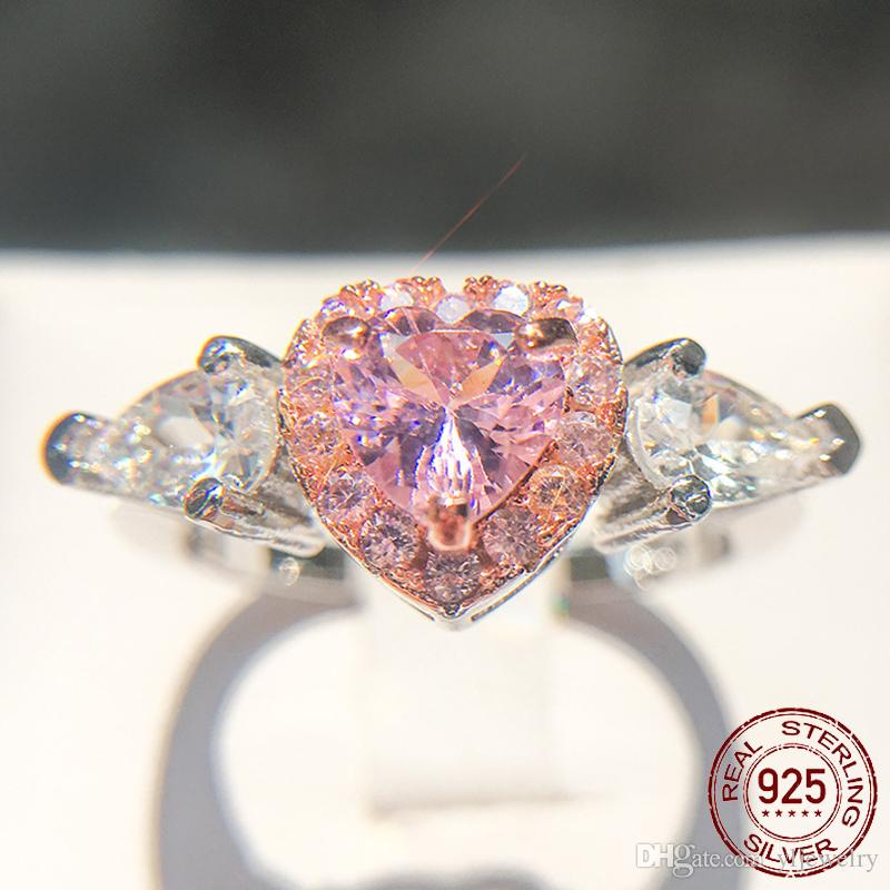 Hot Sale Romantic Heart Wedding Rings for Women Solid 925 Sterling Silver Engagement Jewelry Gift Pink CZ Diamond Ring XR221