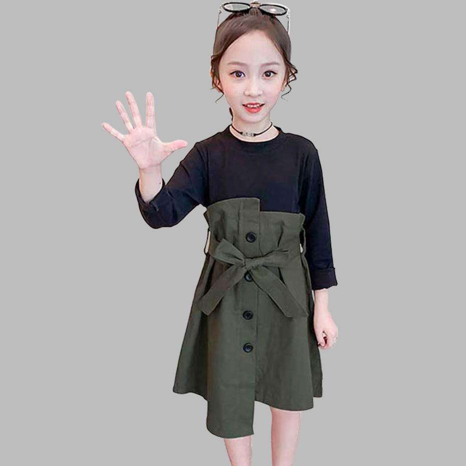 Kızlar T200619 için 2020 Kız Giydirme Patchwork Sahte 2PCS Elbise İçin Kızlar Kore İnce Çocuk Parti Elbise Bow Kemer Bahar Yenilik Giyim
