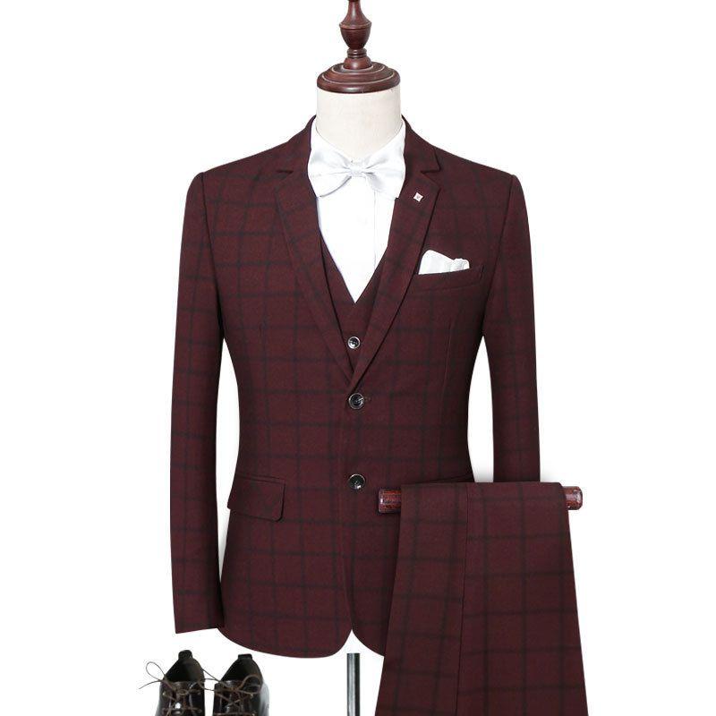 Erkek takım elbise üç parçalı takım (ceket + pantolon + yelek) ilkbahar ve sonbahar yeni erkek ekose iş resmi takım elbise erkek balo parti elbise