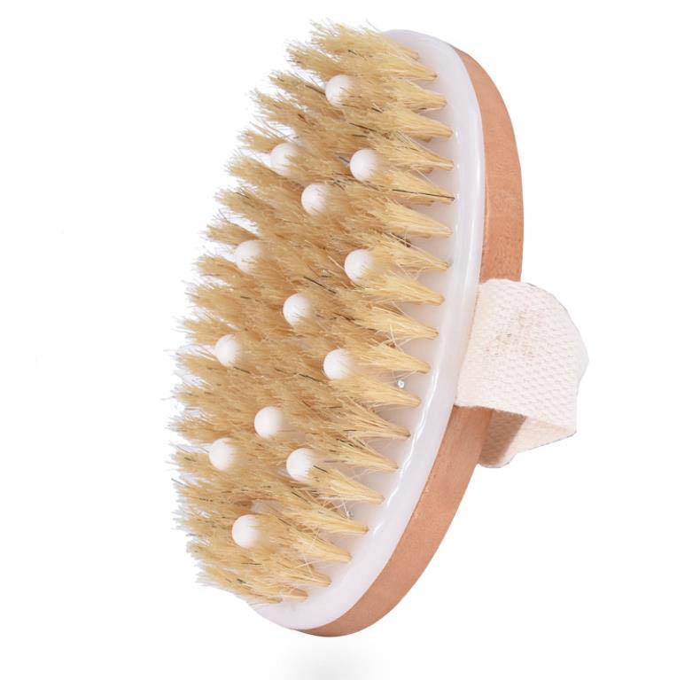PPR tallone morbido setole spazzola doccia secco spazzola per il corpo pelle con setole di cinghiale naturali, che può rimuovere la pelle morta, spazzola per il corpo per uomini e donne