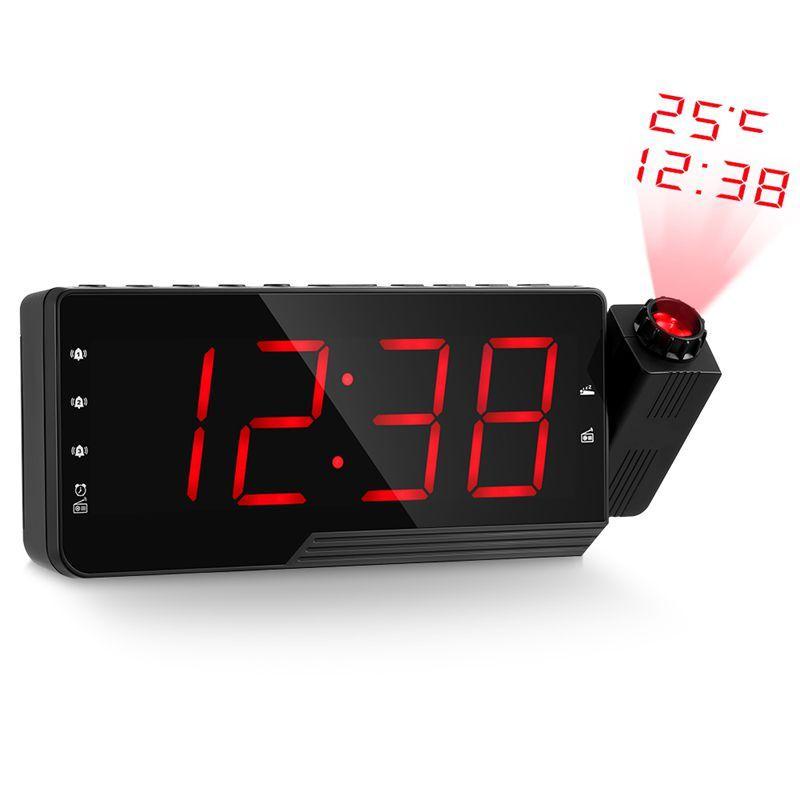 Rádio Digital Alarm Clock Projeção Snooze Temporizador Temperatura Led Usb cabo de carga de 110 graus parede Tabela Fm Rádio Cloc