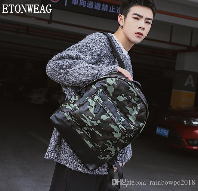 Factory wholesale men handbag new fashion camouflage backpack rivet student bags outdoor sports fitness travel leisure backpack fashion leat