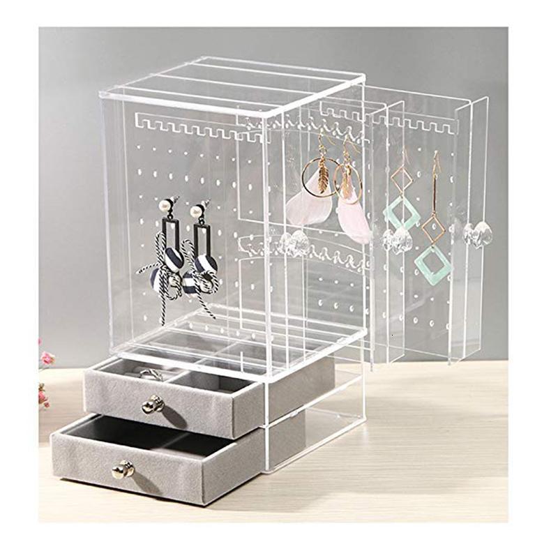 Новые акриловые ювелирные изделия Организатор Box для дисплея ожерелья Случая хранения Серьги Браслет подвесок Украшение девушка подарок женщины макияжа T190929