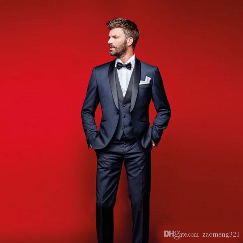 Classy Navy Blue Wedding Tuxedos Slim Fit Suits For Men Groomsmen Suit Three Pieces Cheap Prom Formal Suits (Jacket +Pants+Vest+Bow Tie)