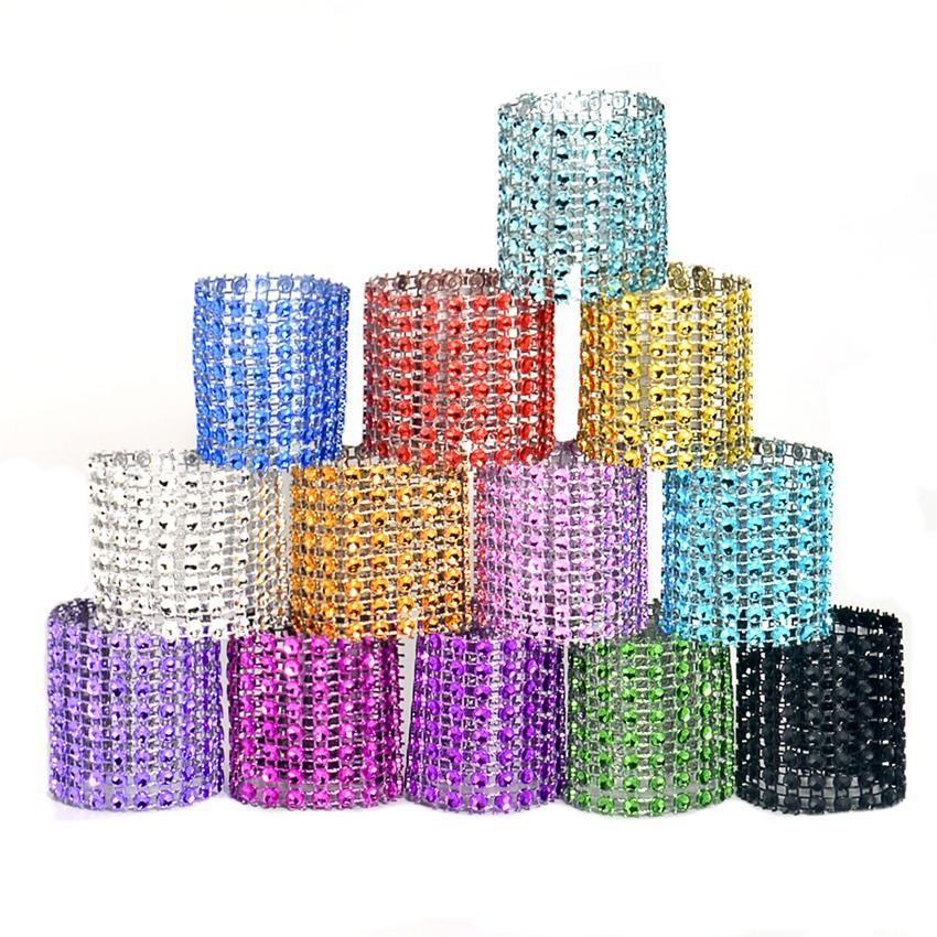 Rhineston napkin rings plastic napkin buckle charm Mesh Wrap Napkin Ring Serviette Holder hotel wedding table decoration LJJA2520-1