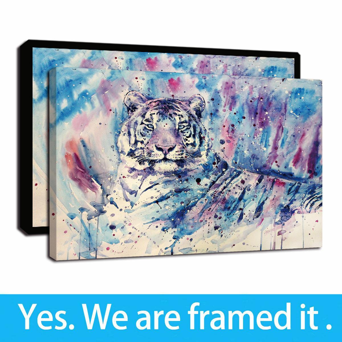 Ilustraciones enmarcadas Cartel colorido del aceite del tigre animal pintada pinturas de la impresión de HD en pinturas de la lona de arte de la pared para la decoración del hogar listo para colgar