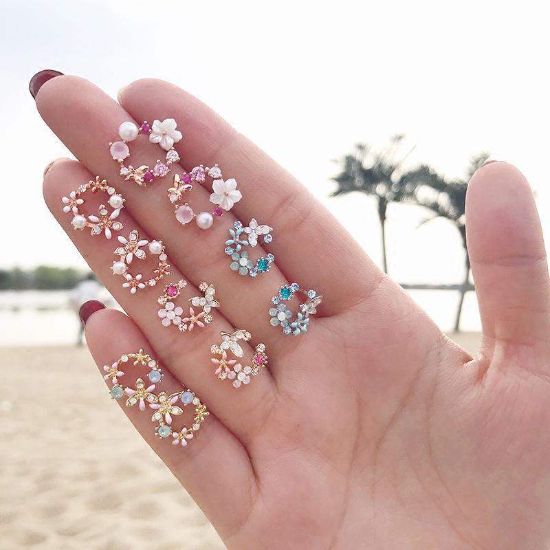 Pendientes de cristal temperamento flor de moda para las mujeres TEH Declaración de Corea del círculo de los pendientes de la muchacha del esmalte joyería geométrica