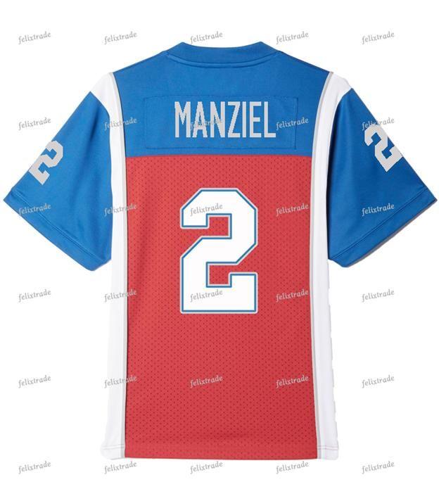 조니 Manziel # 2 몬트리올 Alouettes 소매에 번호 더블 스티미트 축구 유니폼 남성 여성 청소년 맞춤형