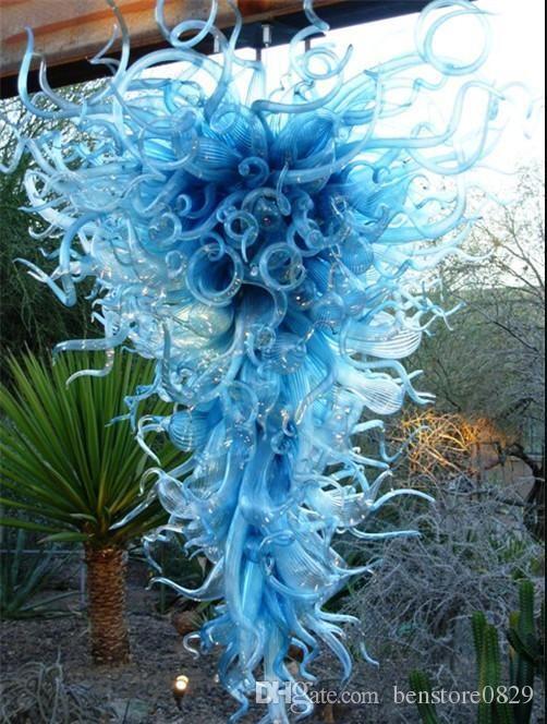 Contemporain bleu en verre de Murano Lustres lumière Lustres en verre en cristal soufflé Custom Made Art lustres de haute qualité