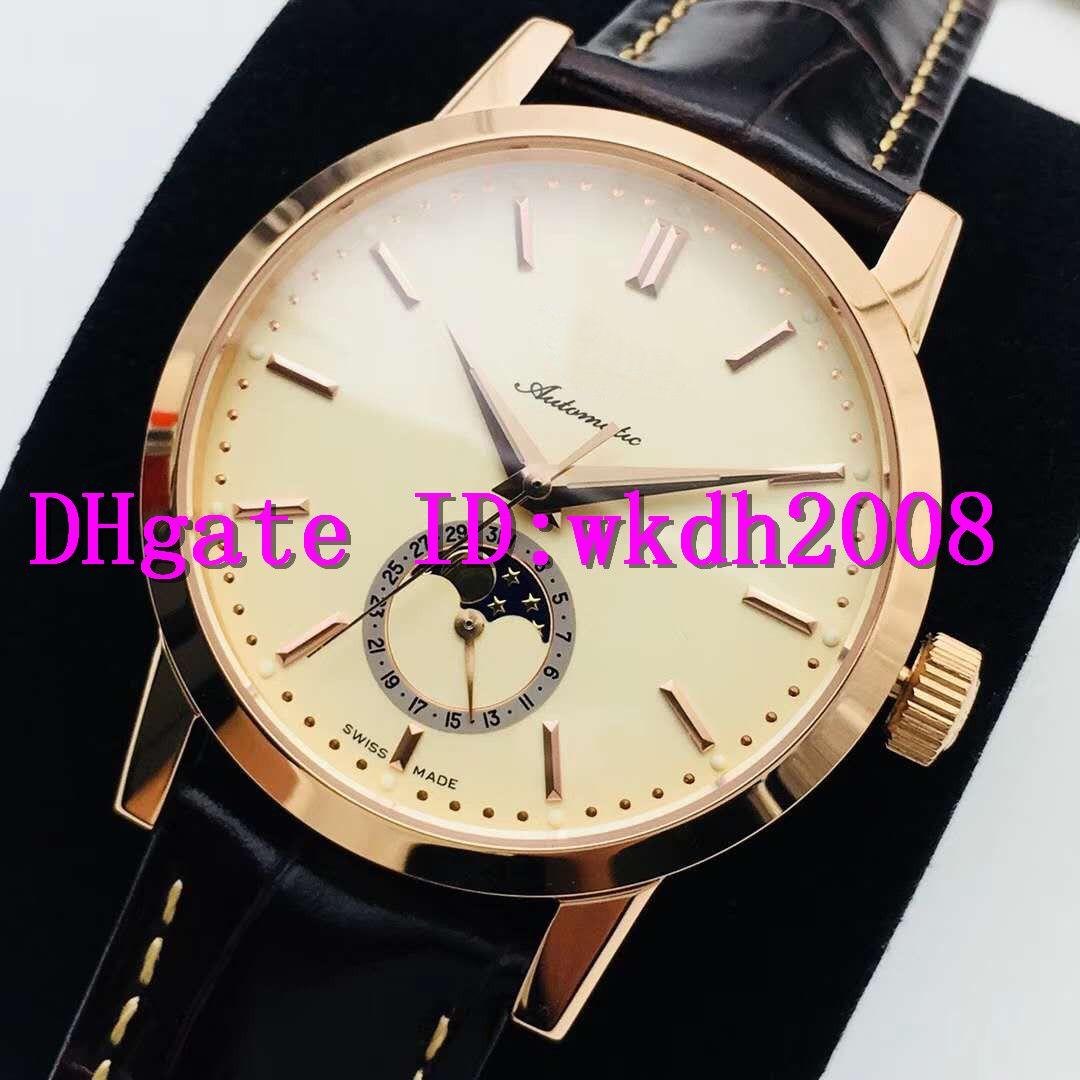 AI L4.826.4.92.2 Мужские часы 1832 Moonphase Casual Часы швейцарские 2824-2 автоматические механические Дата Сапфир 18K розовое золото наручные часы