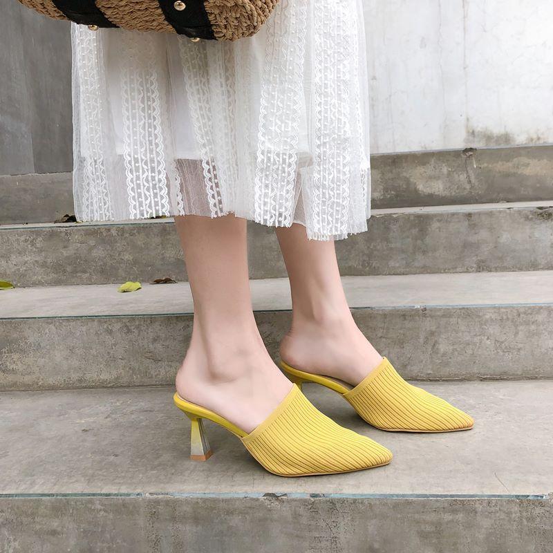 deslizamento MORAZORA 2019 plus size 34-43 mulheres chinelos de dedo do pé apontado tecido stretch senhoras verão sapatos de salto alto chinelos T19 feminino