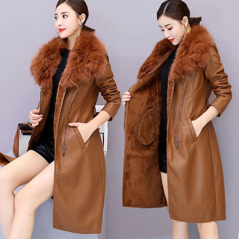2020 New Winter Plus Velvet thick Faux Leather Coates Women Korean Large Slim Weir Large Fur Collar PU Leather Jacket V1210