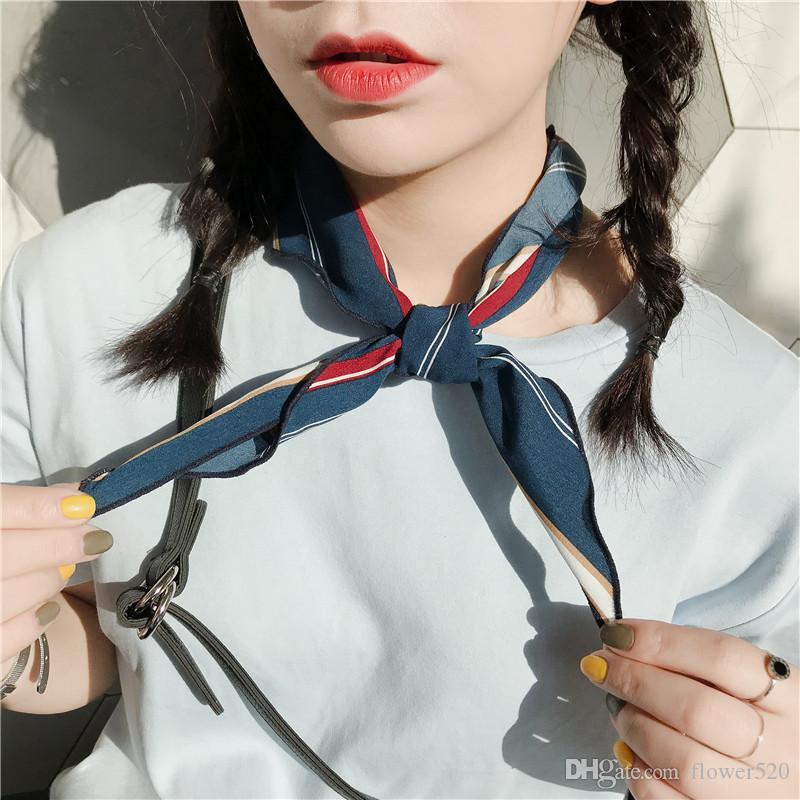 여성용 작은 스카프 작은 실크 bandanas springsummer 쉬폰 인쇄 스카프 85cm 성인 삼각형 한국어 장식 스카프