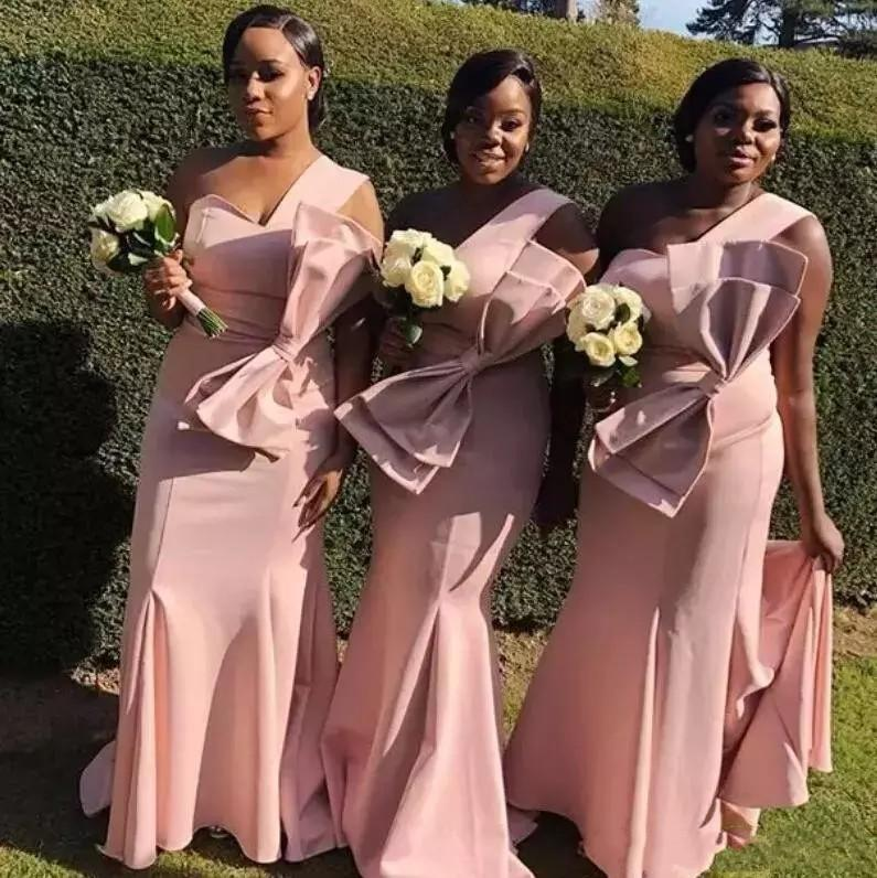 Elegant Pink Bridesmaid Dresses Mermaid One Shoulder Big Bow On Wasit Satin Long Maid of Honor Gowns Wedding Guest Dresses Evening Wear
