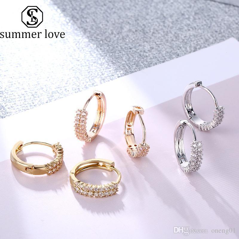 Designer Jewelry zircone oro orecchino d'argento doppia fila zirconi Huggie del cerchio cartilagine orecchini per le donne semplice Bohemian festa di nozze